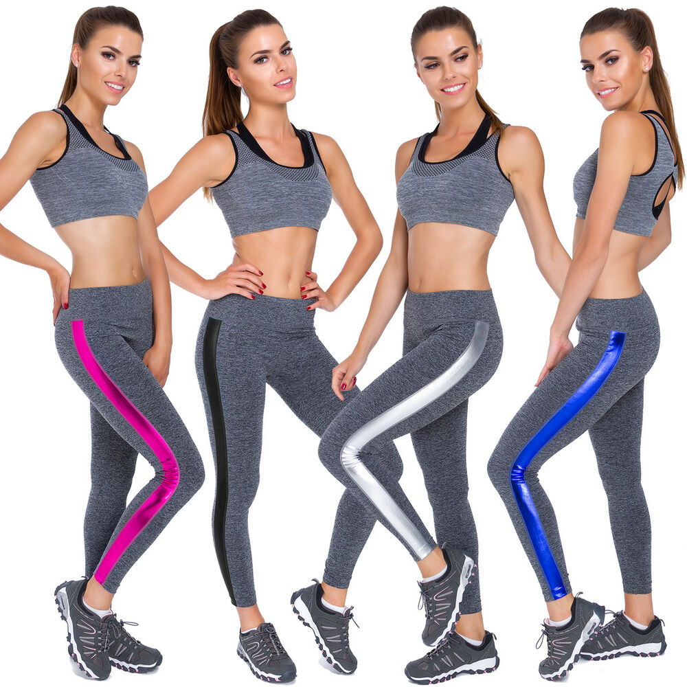 8abf33ae13aa1a Details about Womens Full Length Gym Leggings Fitness Workout Shiny Stripes  Sizes M-XL FG3725