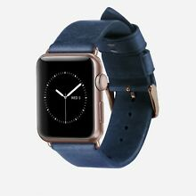 NEW Nomad Genuine Leather Strap Band for Apple Watch 38mm Navy Rose Gold HW15