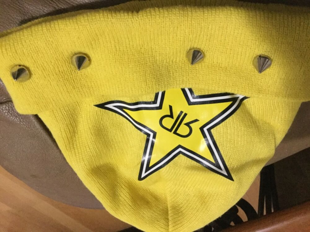 85d32b71cf3886 Details about Rockstar energy drink men's yellow studded beanie hat new one  size