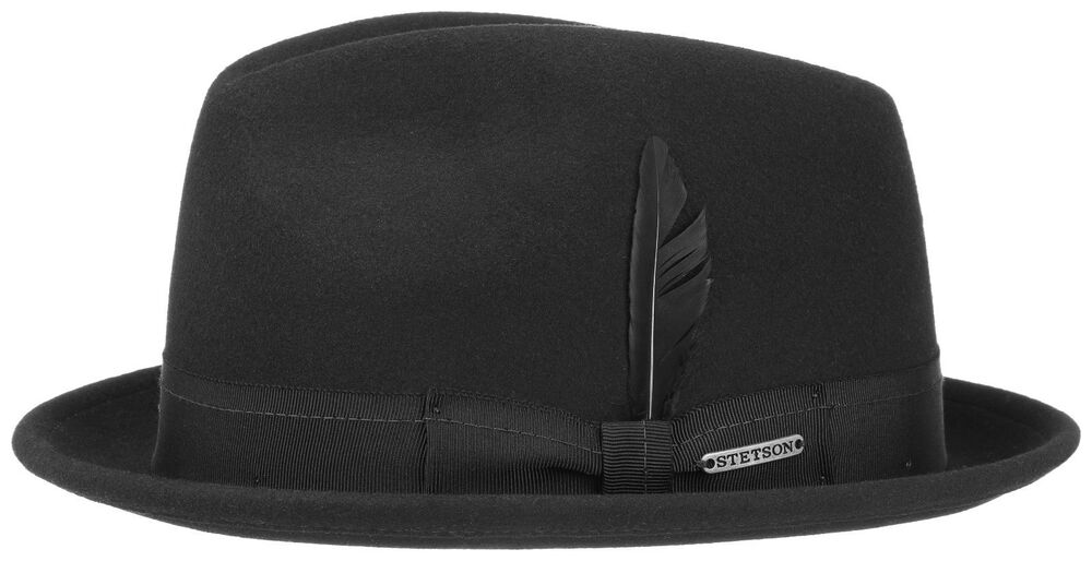 3c2513bb084 Stetson Vita Felt Pork Pie Player Hat Hats Wool Hat Plain 1 Black New Trend