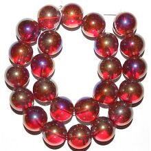 G2881 Red AB Transparent 18mm Round Glass Beads 16
