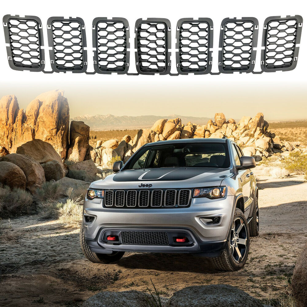 Black Front Honeycomb Grille Inserts For Jeep Grand