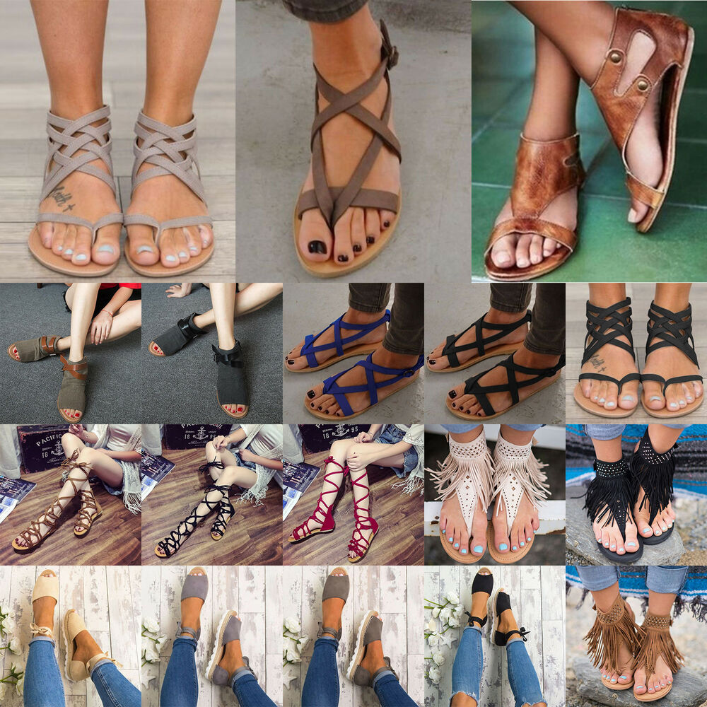 02cee2601733 Details about Women Bohemia Ankle Strappy Flats Peep-toe Sandals Shoes  Summer Beach Flip Flops