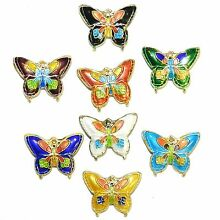 CL169 Handmade Cloisonne Mixed Color 20mm Butterfly Gold Metal Beads 10pc