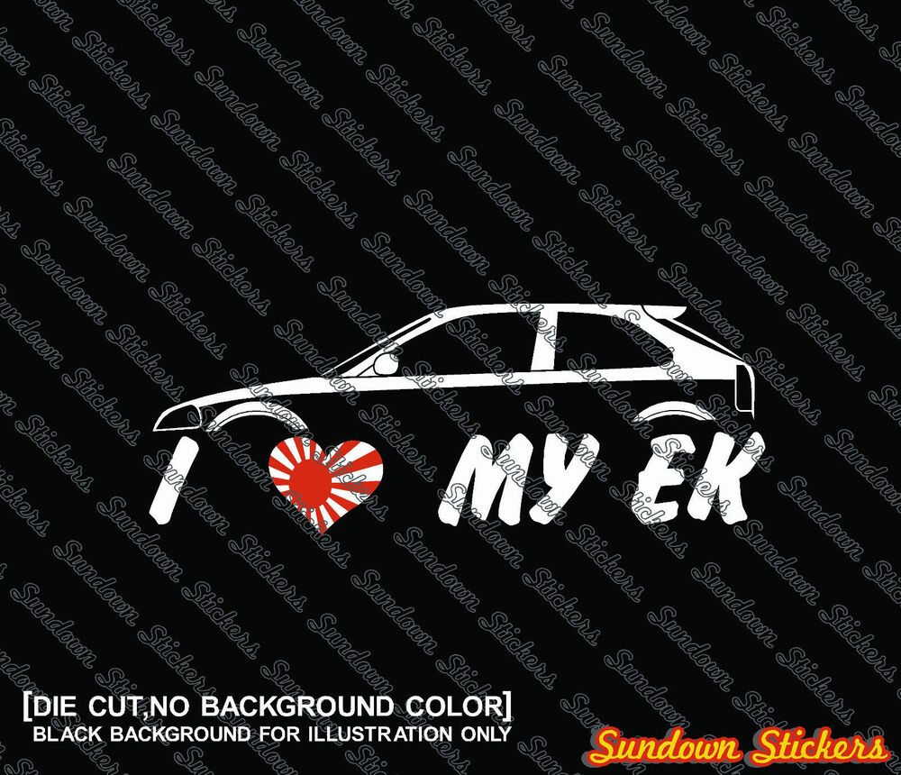 Details about 2x i love my ek car silhouette stickers for honda civic ek ek9 jdm type r