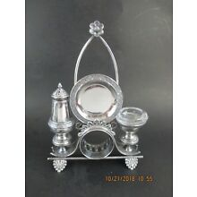 JAMES W TUFTS SILVERPLATED NAPKIN RING HOLDER COMBINATION