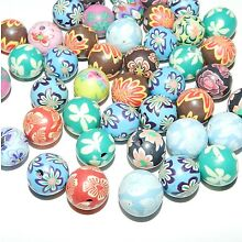 CPC194 Brightly Colored Fun Patterned Polymer Clay 12mm Round Beads 25pc