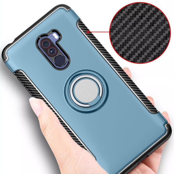 For XiaoMi Pocophone F1 Adsorption Magnetic Hybrid Ring Stand Car TPU Case Cover