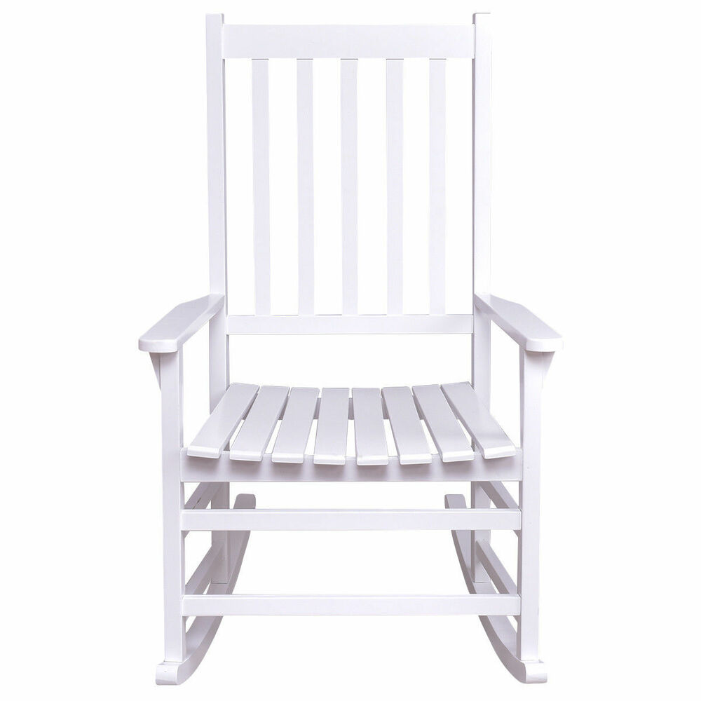 Exceptionnel Details About White Wood Rocking Chair Porch Outdoor Patio Furniture Wide  Seat Antique Style