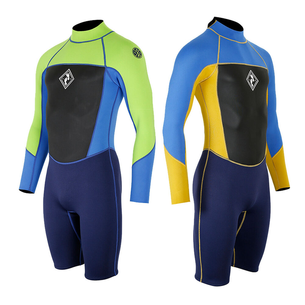 Details about Two Bare Feet Mens Squadron 3 2mm Long Sleeve Shorty Wetsuit  Spring Flexible 07074652b4f7