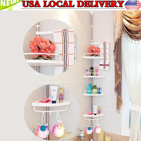 Bath Shower Caddy Accessory Rack Holder Corner Shelf Organizer Storage Bathroom