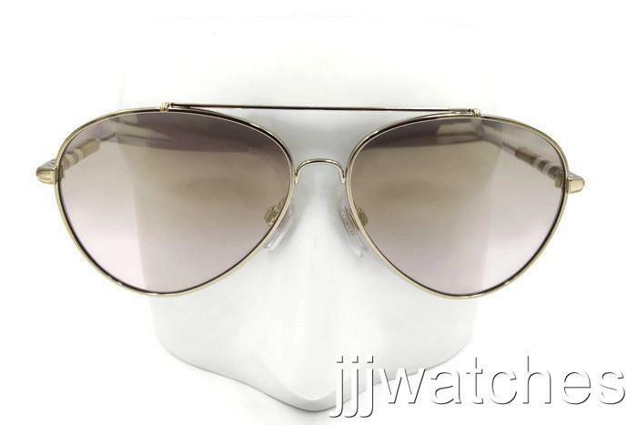 7f468bd2468 Details about New Burberry Check Detail Pilot Gold Mirror Sunglasses  BE3092Q 114471 57  270