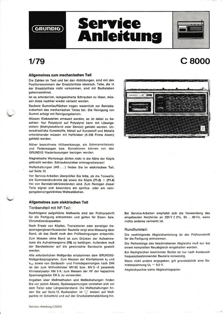 Service Manual-anleitung Für Grundig V 2,original Tv, Video & Audio