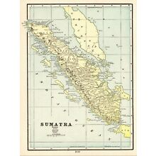 1900 Antique SUMATRA Map Vintage Original Map of Sumatra Indonesia Map 5864