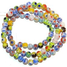 G4243 Assorted Color Single Flower Millefiori 5mm Round Glass Beads 14