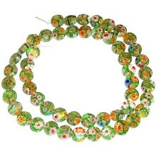 G868 Green Multi-Color Flower Millefiori 8mm Flat Puffed Round Coin Beads 15