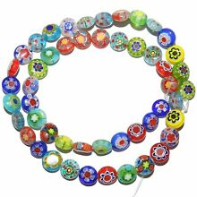 G4160 Assorted Color Mixed 8mm Flat Round Millefiori Flower Glass Beads 14