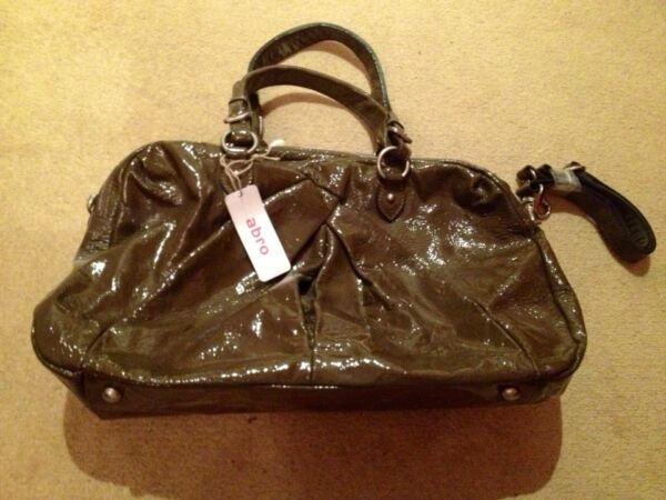 Abro Fawn Patent Leather Handbag. New With Tag.