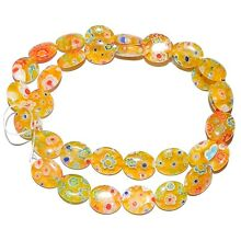 G3043 Yellow w Multiple Color Flowers 12mm Puff Oval Millefiori Glass Beads 15