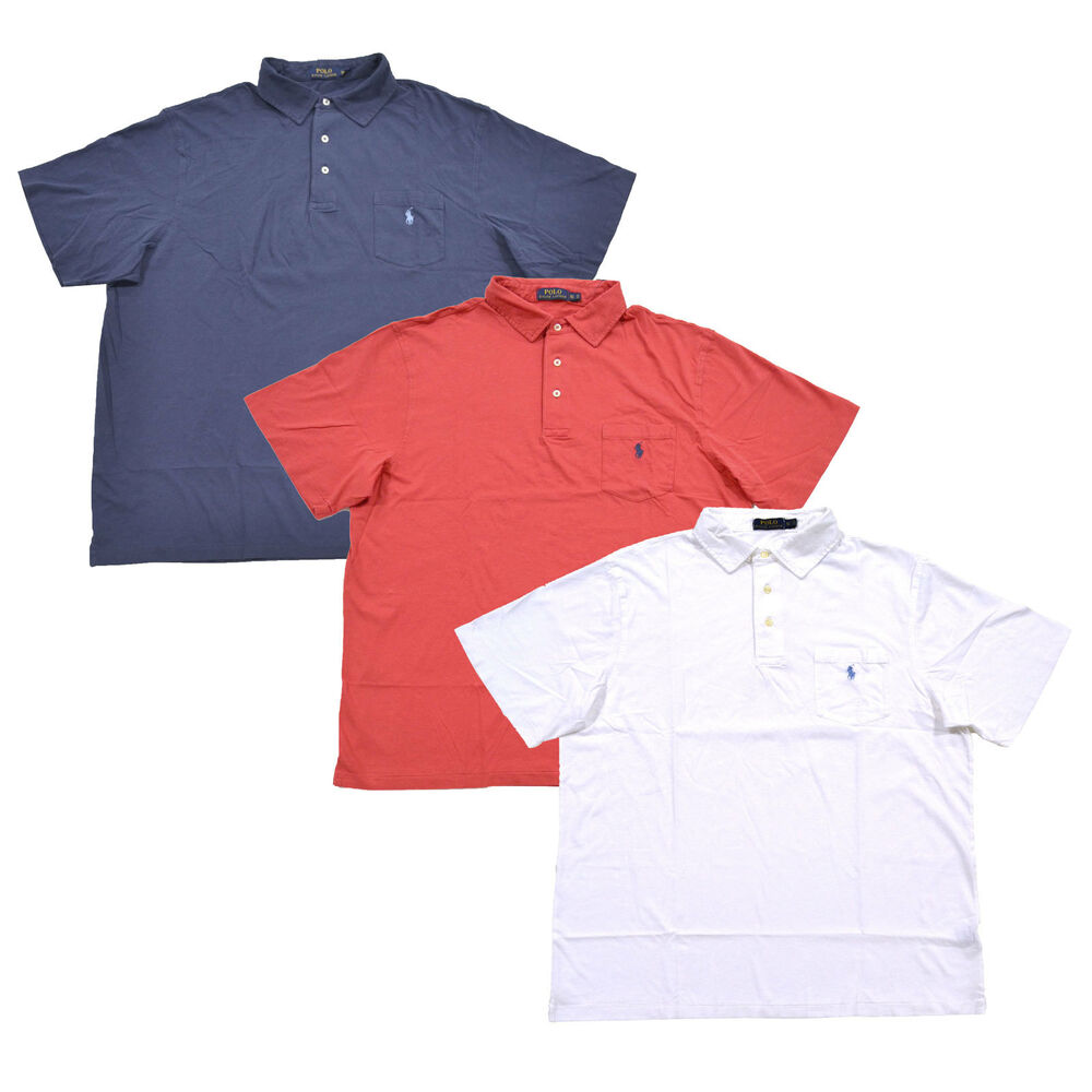 4f09621e Details about Polo Ralph Lauren Mens Big And Tall Polo Shirt Pony Logo  Pocket Three Button Top