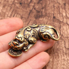 Chinese Old Collectible Pure Brass God Beast Pixiu Pendant Brave Troops Keychain