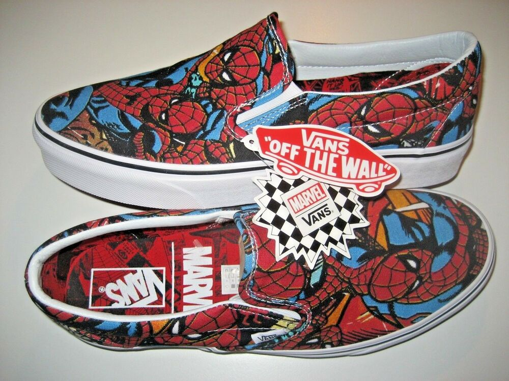 c5add6f15f Details about Vans x Marvel Spider Man Classic Slip on Mens Black Canvas  Skate shoes Size 10