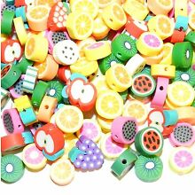 CPCL349 Assorted Fruit 10mm Handmade Polymer Clay Beads 100pc