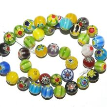 G4165 Mixed Multi-Color Flower 10mm Round Millefiori Lampwork Glass Beads 14