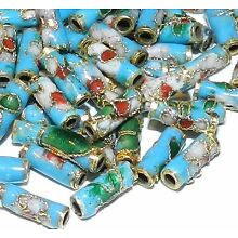 CL138 Blue 9mm Round Tube Enamel Overlay on Metal Cloisonne Beads 25pc