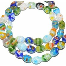 G2462 Multi-Colored Assorted 9mm Tapered  Oval Barrel Millefiori Glass Bead 15