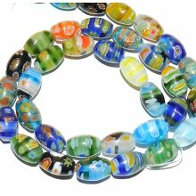 G2463 Multi-Colored Assorted 12mm Tapered Oval Barrel Millefiori Glass Beads 16