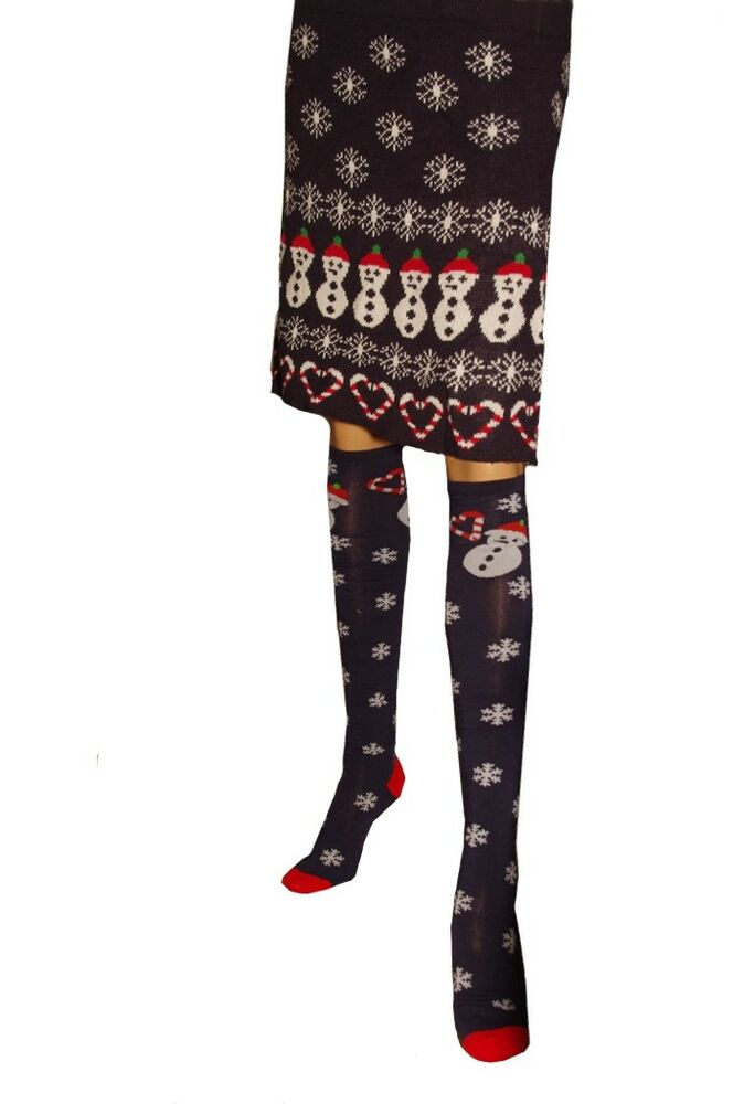 29a0512896ecd Details about Womens Snowman Snow Snowflakes Skirt Socks Ugly Christmas  Sweater Party L XL NEW