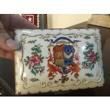French Box Gold and Hand Painted Rare Vintage 1900s Porcelain Hinged Box