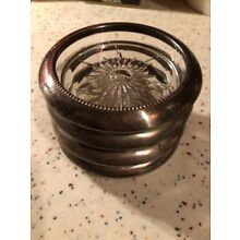 4 vintage Leonard silverplate and cut glass coasters barware