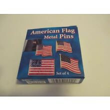 4 x 4 pack 16 pins  American USA  Flag Pins lot of 4 box's New  FREE SHIPPING