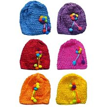 Bella Baby Stretchy Knitted Bonnet Hat with Fuzzy Ball Ornament U16250-6412