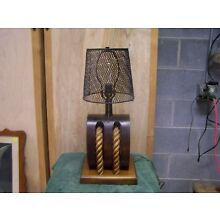 Vintage Wooden Pulley-Block & Tackle Nautical Steampunk Lamp w/minnow trap shade