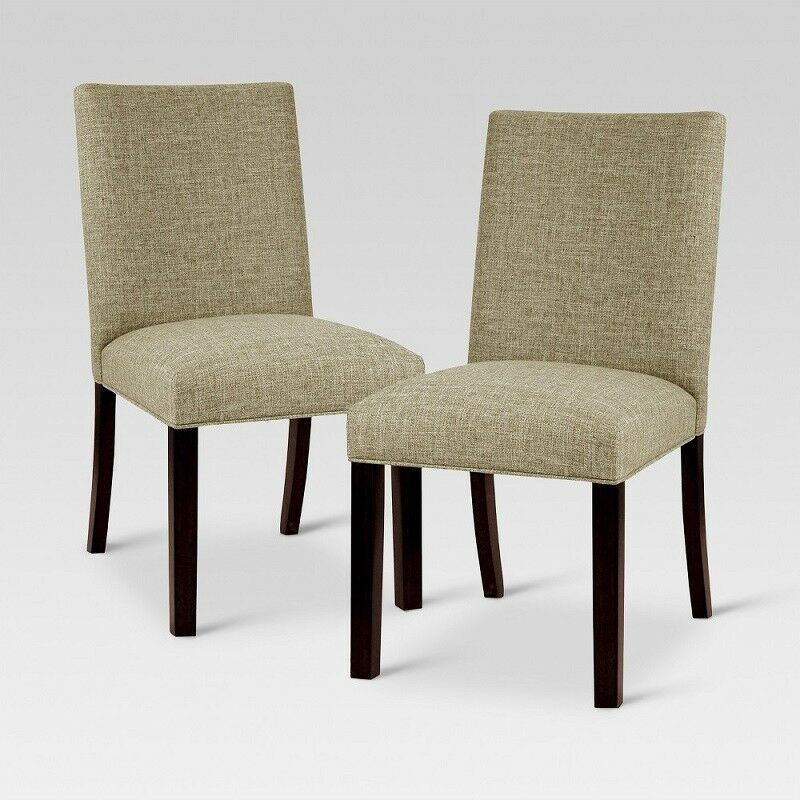 Pleasant Threshold Set Of 2 Textured Linen Parsons Dining Chair Taupe 840966127799 Ebay Ncnpc Chair Design For Home Ncnpcorg