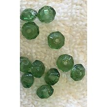 VINTAGE MOSS GREEN FACETED RHONDELLE 6MM GLASS BEADS 36 PIECES WOW!