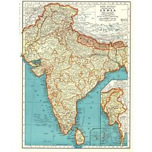 1942 Antique INDIA Map Vintage Map of BURMA MAP of India Gallery Wall Art 5990