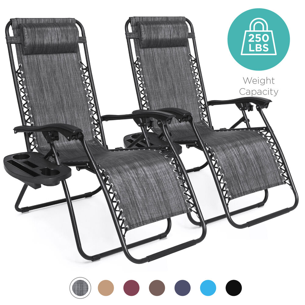 Bcp Set Of 2 Adjustable Zero Gravity Patio Chair Recliners W Cup