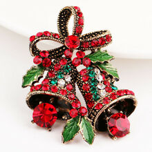 Christmas Suit Pin Decor Corsage Bow Bells Crystal Rhinestone Large Brooch Pin
