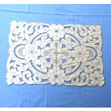 Vintage Linen Doily Runner Floral Embroidery Cut Work 15x22 Rectangle