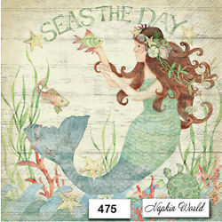 (475) TWO Individual Paper Luncheon Decoupage Napkins - MERMAID, OCEAN, FOLKLORE