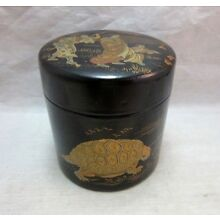 Vintage Japanese black lacquer tea canister, caddy. Men pulling Giant Turtle