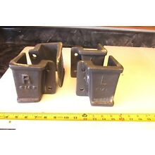 SET OF 2R+2L CAST IRON LINEBERRY WOOD FACTORY CART STAKE POCKET HOLDER STEAMPUNK