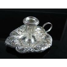 Gorham Sterling Silver Floral Repousse Chamberstick No Monogram