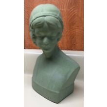 1920s Era~'FLEURON'~Deco Green LADY BUST Figurine~TONAWANDA NY~Cast Composition