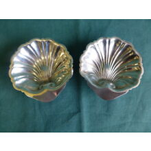 Two Antique Sterling Silver Shell Dishes