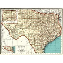 1937 Vintage TEXAS Map Antique Map of Texas State Map Gallery Wall Art 6108